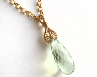 Pendant Necklace Wire Wrapped Green Amethyst Prasiolite