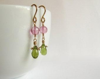 Drop Earrings Wire Wrapped Short Dangle Mystic Pink Topaz Peridot Birthstone