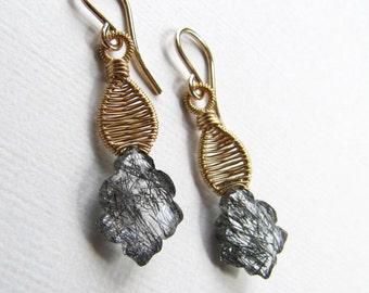 Wire Wrapped Dangle Earrings Tourmalinated Rutilated Quartz