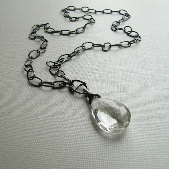 Chain Long Necklace Crystal Quartz Pendant Handmade Sterling Silver
