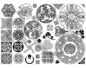 30 Plus Celtic Designs Unmounted Uncut Rubber Stamp Sheet