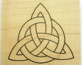 Bold Celtic Triquetra Outline Rubber Stamp Knotwork Symbol #377