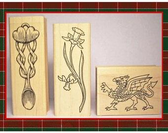 Symbols of Wales Rubber Stamp Set of 3 Welsh Symbols