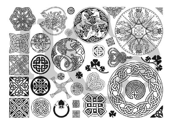 30 Plus Celtic Designs Unmounted Uncut Rubber Stamp Sheet