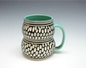 Stylish Porcelain Mug turquoise black white