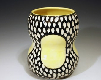 SALE carved mod spot vase yellow black and white