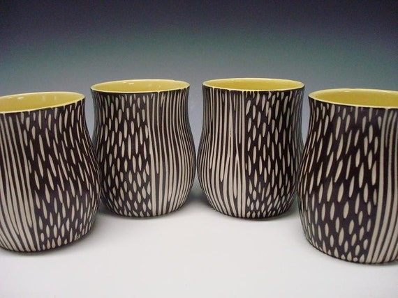 SET of 4 Porcelain CUP tumblers yellow black white