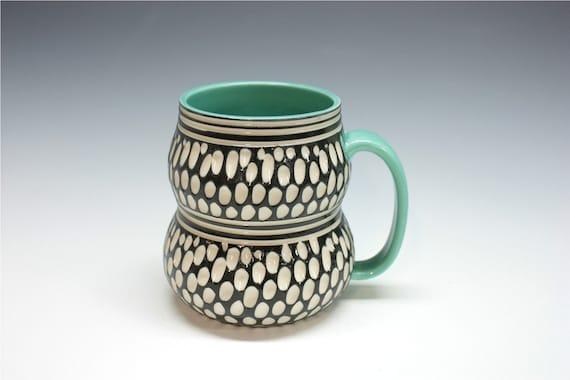 Stylish Porcelain Mug turquoise black white