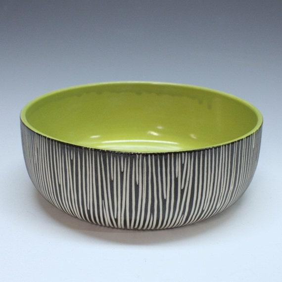 SUPER SALE Modern porcelain bowl GREEN black white