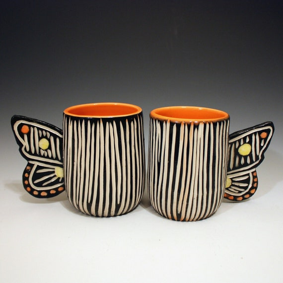 Modern Porcelain Butterfly Pair of Cups