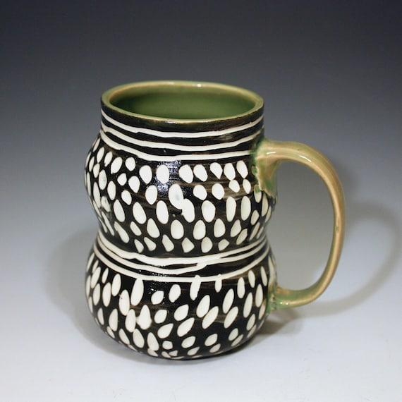 SALE Stylish Porcelain Mug green black white