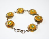Bracelet - Yellow Chunky Fused Glass Links - Artisan Jewelry