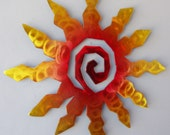 Sun Burst Spiral Metal Wall Art - Sunset Swirl Finish with Red, Yellow and Blue Accents - 12 Inch