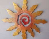 Sun Burst Metal Wall Art - Rust with Red and Yellow Accents - Large Southwest Art, 23 inch