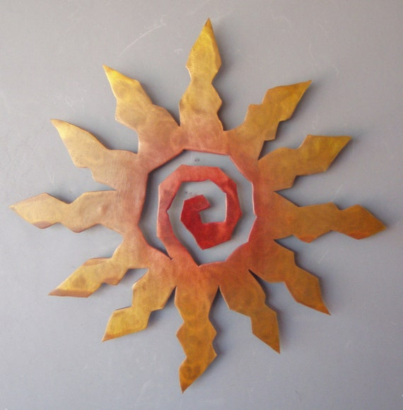 Yellow Sun Wall Decor : Sun burst metal wall art rust with red and yellow accents