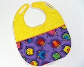 Baby Bib in Yellow with Purple Puppy Print