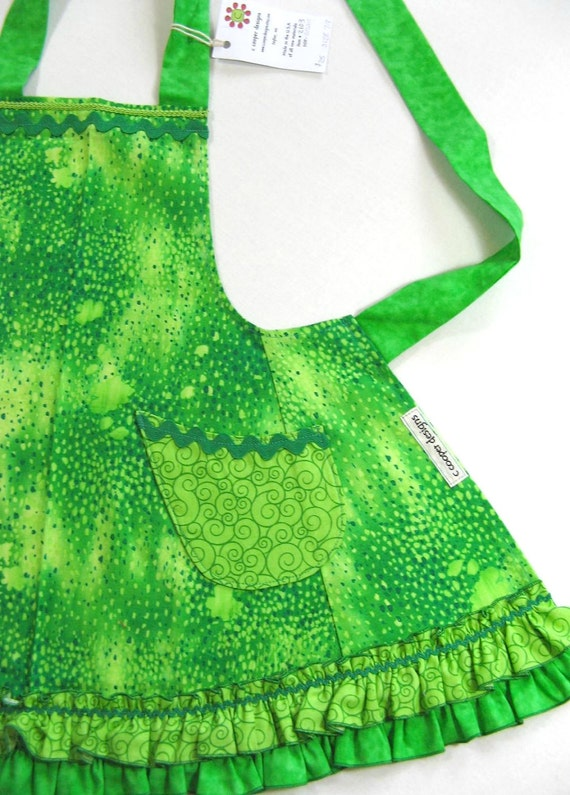 Girls Ruffled Apron Frilly Apron in Bright Green -Size 7