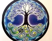 "Mandala Sticker -  Full Moon Mandala - Tree  of Life 3"" sticker."