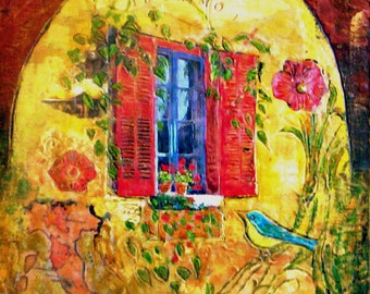 Original Encaustic Mixed Media Painting - Window in Spring Time - Framed