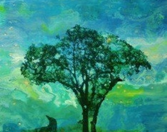 Blue Tree Dream  Beeswax ORIGINAL ENCAUSTIC- Dream Bird in Blue with Tree, Painting, photo transfer