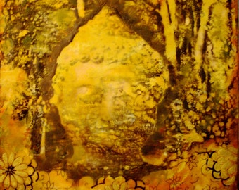 Original Encaustic Painting - Buddha in the Forest