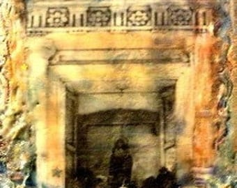Mother Mary Altar Nichio Original Encaustic Mixed Media Painting -   MADONNA  - 5x7 in