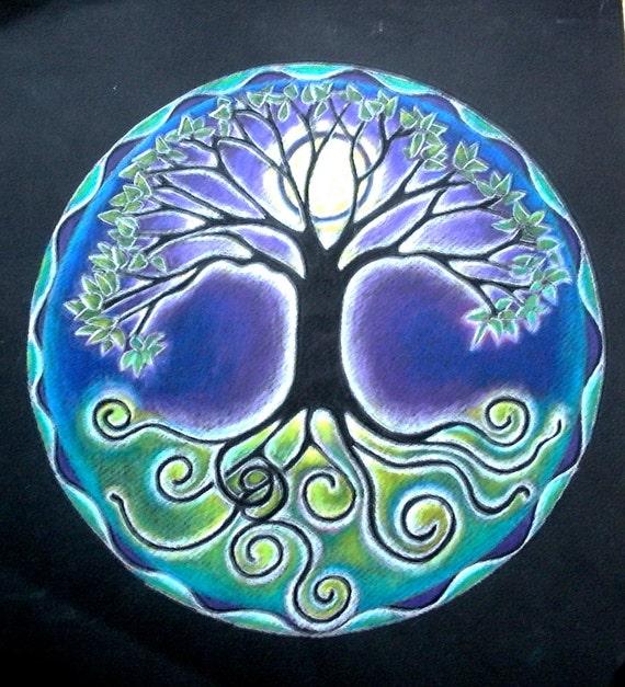 rbol de la vida de luna llena Mandala dibujo grabado mate