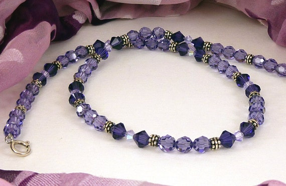 Purple Necklace Crystal Sterling Silver Choker
