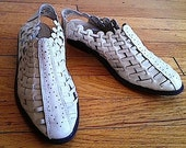 CLEARANCE vintage woven white leather handwoven hurache sandals flats 10