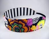 Reversible Headband - Day of the Dead - Black White Stripe Orange Yellow Blue Purple Pink Green