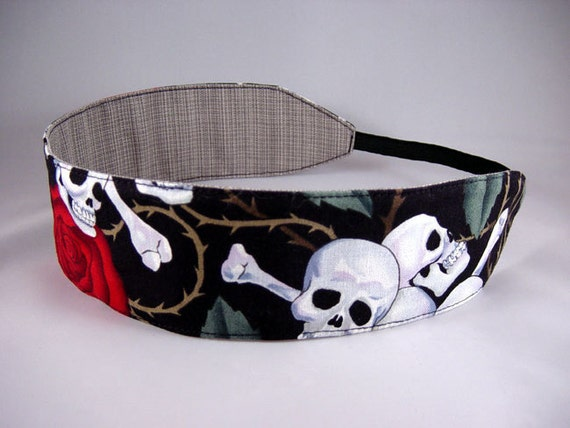 Reversible Headband - Roses for the Dead - Black White Grey Skulls Red Roses and Grey Woven