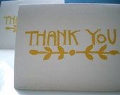 Thank you notecard, hand printed notecard, lino cut, recycled paper, set of 6 letterpress cards, card sets