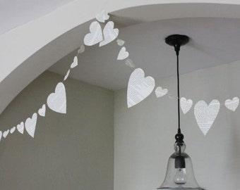 heart book garland. 10 ft.  wedding decoration, bunting, photo prop, party decoration, wedding garland, heart garland, valentine
