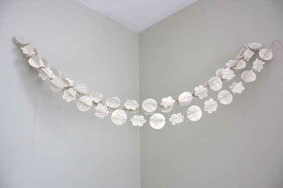 flower and circle paper garland. repurposed book. 3D - 12 ft. wedding decoration, bunting, photo prop, party decoration