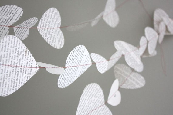 string of hearts paper garland. old book - 10 ft. - valentine garland, bunting, wedding decoration, photo prop, wedding garland, valentine