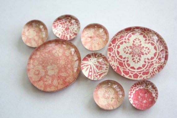 glass marble magnets. pink floral