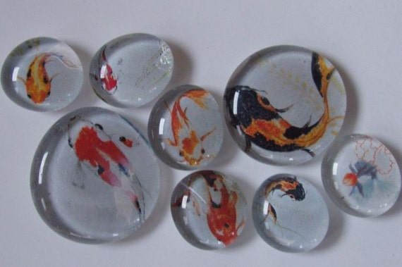 Here Fishy Fishy - marble magnets