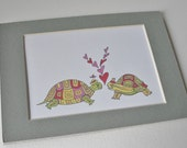 Art Print Romantic Valentine's Day Turtles and Hearts Matted Print Anniversary Wedding