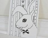 Original ACEO, Bunny Art, Original Ink Drawing, Black and White Bunny Rabbit, Animal Art