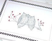 Owl Wedding Best Wishes and Congratulation Card, Owls in Love Wedding Card Black and White Wedding with Envelope