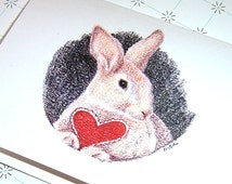 Happy Mother's Day, Some Bunny Loves You, Bunny Rabbit Greeting Card, Heart All Occasion Card