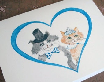 Wedding Thank You Cat Cards, Cats Kitties Wedding Thank You Cards for Cat Lovers Top Hat Tiara  Blue Heart Set of 10