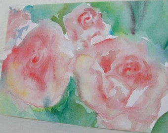 Watercolor Painting Pink Roses Painting Pink Flower Art Painting