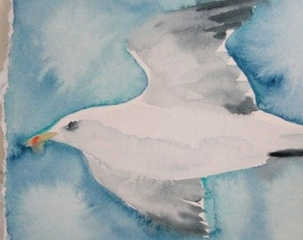 Original Watercolor Bird Painting, Seagull Painting, Home Decor, Beach Cottage Decor