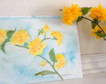 Spring Yellow Flowers Watercolor Painting Original