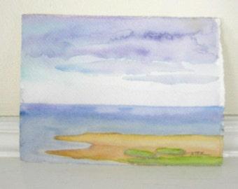 Beach Seashore Landscape Original Watercolor Small Painting