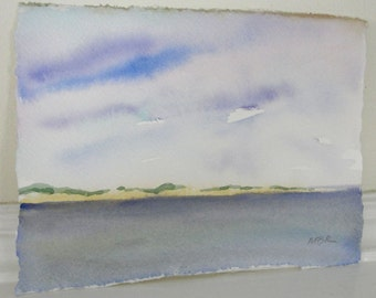 Watercolor Painting, Landscape Painting, Beach Art Painting, Cape Cod Landscape, Blue Ocean Sea and Sky, Home Decor