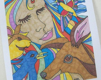 Hippie Art Nature Girl Pop Art Woodland Animals and Woman Deer Bird Rabbit Digital Print 8 x 10