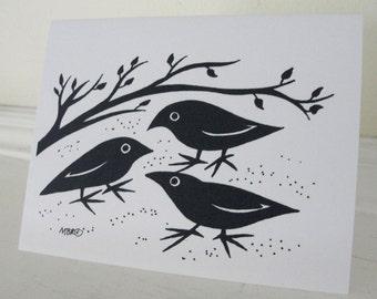 Halloween Card, Raven Halloween Crow Halloween Card, Halloween Greeting Card Black and White Halloween Card, Halloween Raven, Halloween Crow