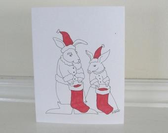 Christmas Cards Bunny Rabbit Cute Holiday Christmas Cards Set of 6